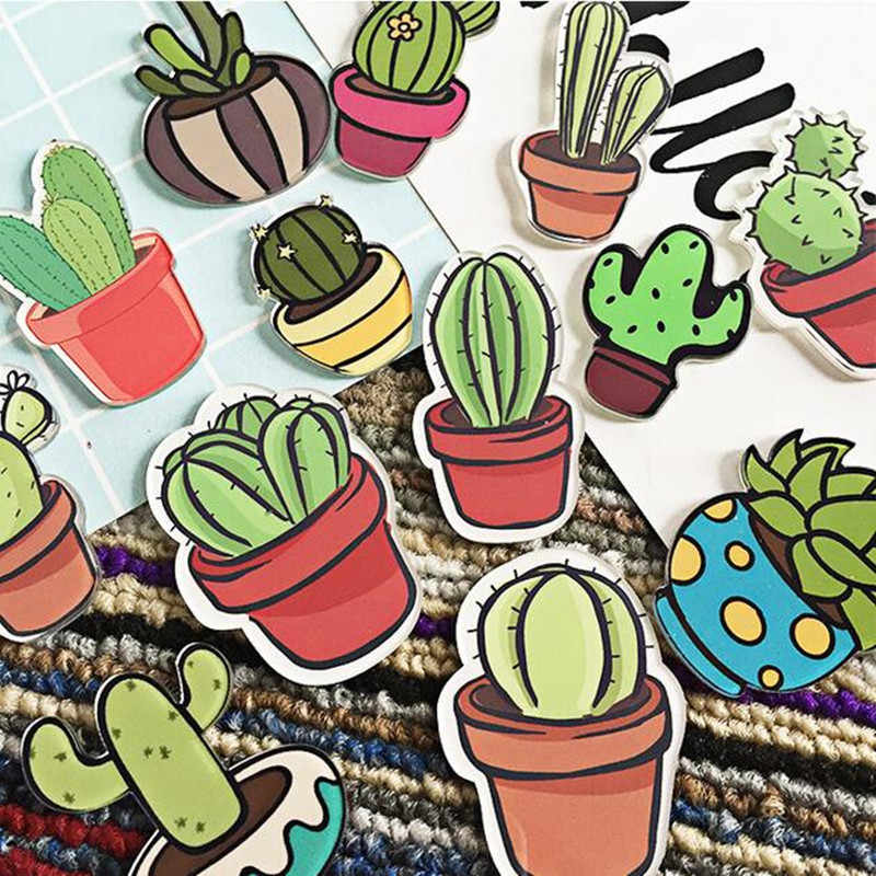 Maxsin 1 Piece Acrylic Cartoon Cactus Pin Bonsai Badges Icons on The Backpack Badge Decoration Brooch for Clothing