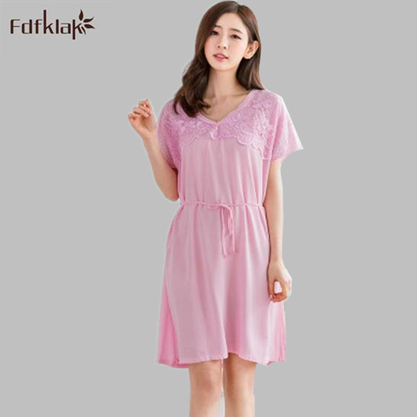 954d71118f4 Summer New V-Neck Sexy Nightgowns Nighties Princess Nightdress Sleepwear  Women Long Pink Nightgown Nightdress Cotton E1038