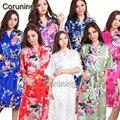 S1686 Novas Mulheres Vestes de Cetim Quimono Floral Damas de Honra Noiva Robe Longo Kimono Robe Roupão Manto Sólido Presente Nupcial Do Partido