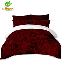 Scenery Print Bedding Set Pure Color Blood Red Duvet Cover Set Pillowcase Human Cycling Bedclothes King Queen Bed Cover B30