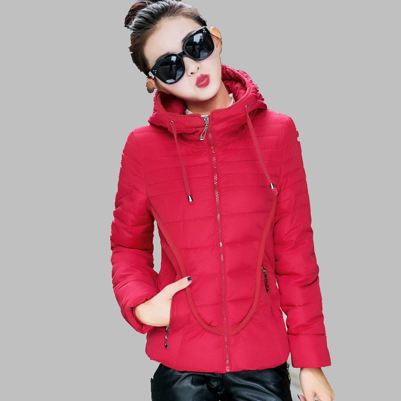 2016 Winter Women New Short Cotton Down Jacket Korean Students Slim Hooded Warm Coat Solid color