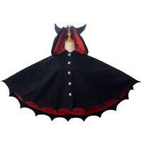 Women Halloween Black Evil Bat Wing Horror Demon Costume Breasted Warm Outwear Coat Gothic Shawl Ear Hooded Cloak Cape For Lady