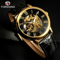 FORSINING Top Brand Business Watches Men Leather Strap Relogio Self Wind Luxury Brand Skeleton Automatic Mechanical