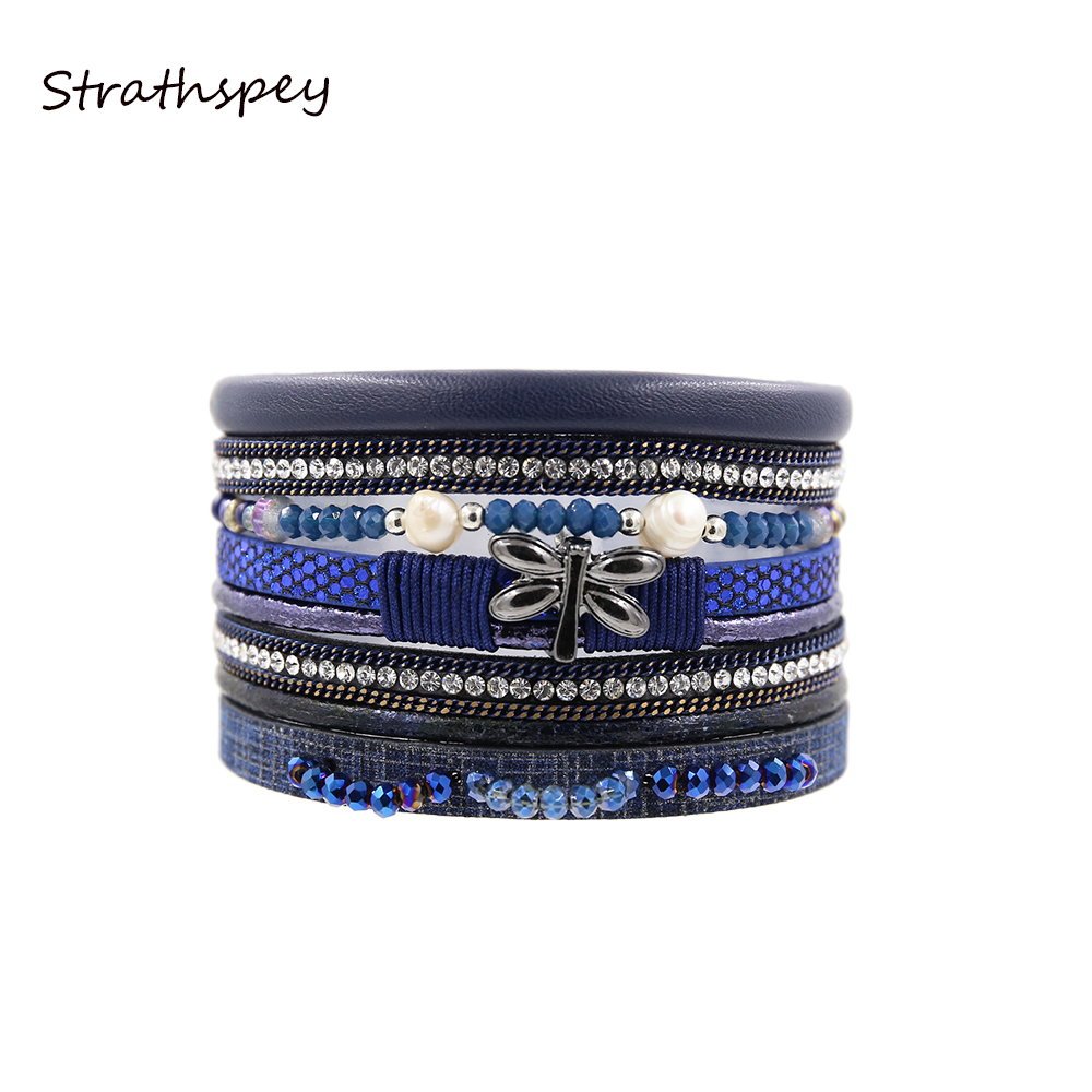STRATHSPEY New Rhinestone Wide Magnetic Leather bracelets&bangles Multilayer Buterfly Bracelets Handmade Beads Jewelry For Women