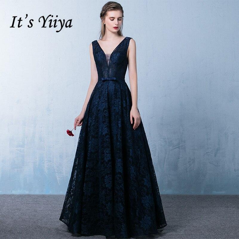 It's Yiiya V-Neck Deep Blue Luxury   Evening     Dresses   Fashion Designer Vintage Lady Style High Quality Slim Formal   Dress   LX312