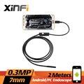 Xinfi 7 мм 2 м 0.3MP кабель мобильного эндоскопа 640 * 480 android-4.2 бороскоп для ноутбука с OTG / UVC USB адаптер змея инспекции камеры