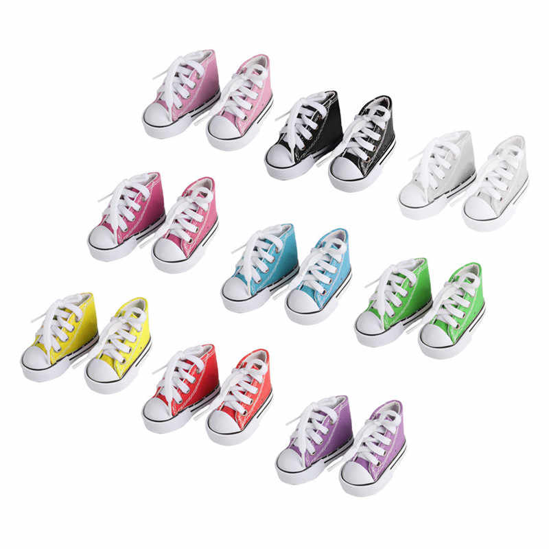2b0e47e51f36d6 1pair DIY Dolls Accessories 7cm Shoes Sneakers For American Dolls Fashion  Denim Canvas Mini Toy Shoes