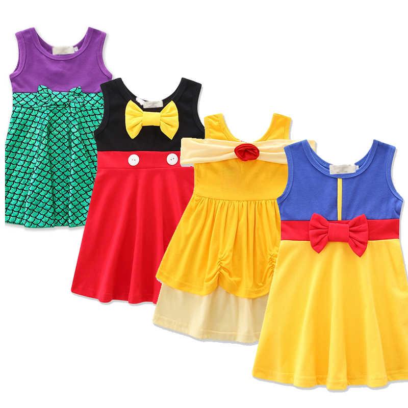 Novo bebê meninas verão roupas casuais minnie mulan mulher maravilha branca de neve rapunzel sininho vestidos de princesa 2-7y