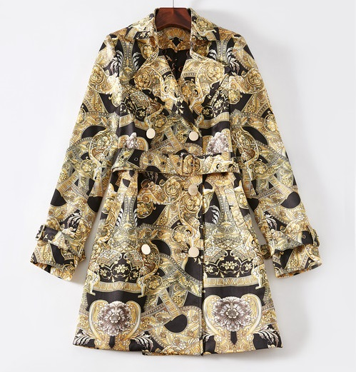 Sexy 2018 Autumn New Retro Jacquard trench coat Long Sleeve baruque Windbreaker Coat Woman's Outwear black gold color print