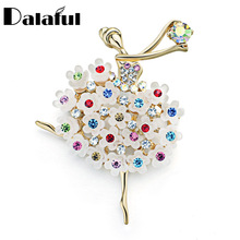 Fantacy Brooch Pin Multicolor Crystal Flower Skirt Ballet Dancer Clothes Accessories Floral Brooches For Wedding Bridal Z016
