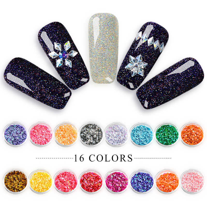 MEET ACROSS Rhombus Nail Art Decorations Chameleon Pentagonal Star Nail Sequins Shiny Nail Shinestones 3D Nail Art Tips