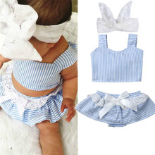 Infant Toddler Baby Girls Stripe Strap Crop Tops Shorts Skirts Lace Headband Outfit Summer Newborn Baby Girl Clothes Set new