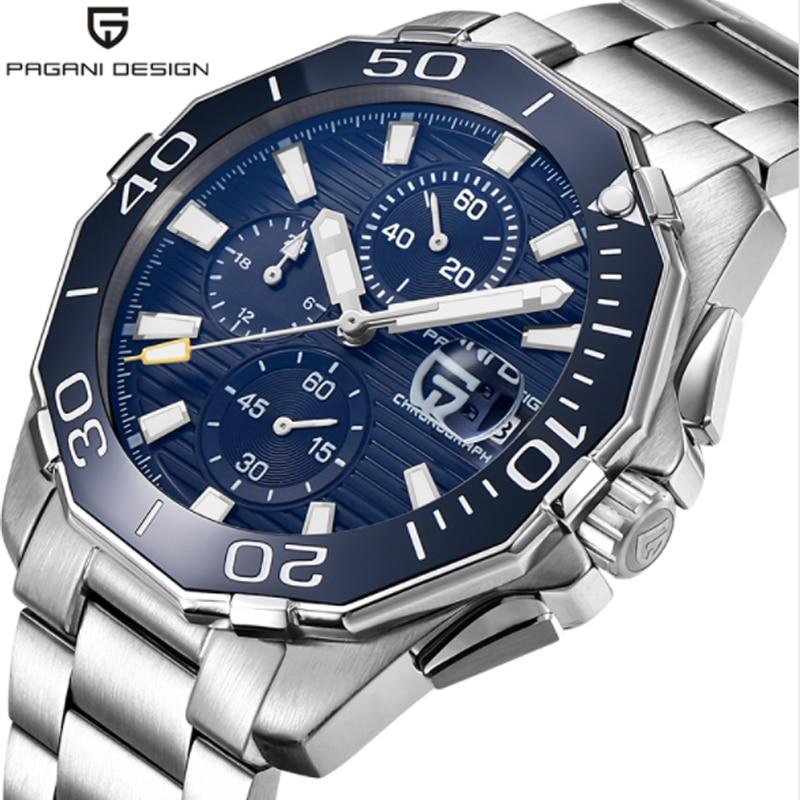 PAGANI CONCEPTION haute qualité Militaire montre hommes de luxe chronographe en acier inoxydable quartz 30 mètres montre étanche cadeau