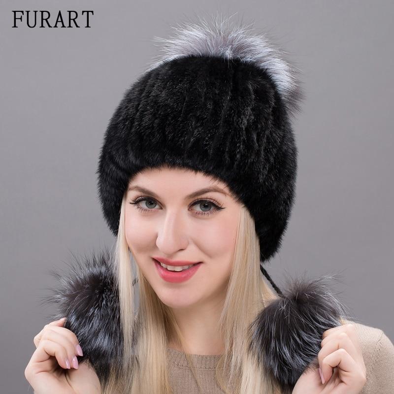 Russian Real mink fur hat for women new brand winter knitted mink fur beanie cap with fox fur pom pom winter warm hats DXJ17-33