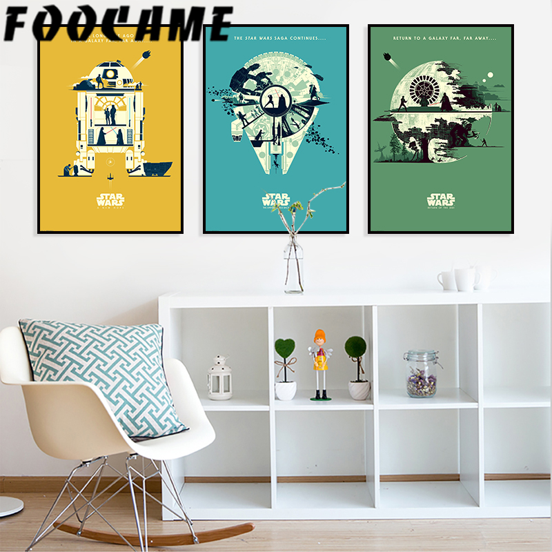 FOOCAME Star Wars Cartoon Movie Posters and Prints Nursery Wall Art Canvas Painting Living Room Kids Room Decoration Pictures image