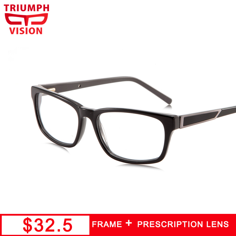 TRIUMPH VISION Black Official Style Mens Prescription Glasses Square Progresssive Reading Clear Eyeglasses Optical Nearsighted