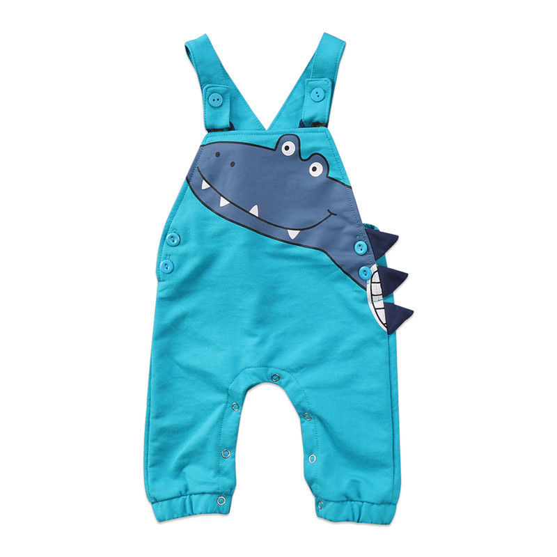 Newborn Infant Kids Baby Boys Girls Sleeveless Cartoon Rompers Dinosaur Clothes Jumpsuit Outfits Blue