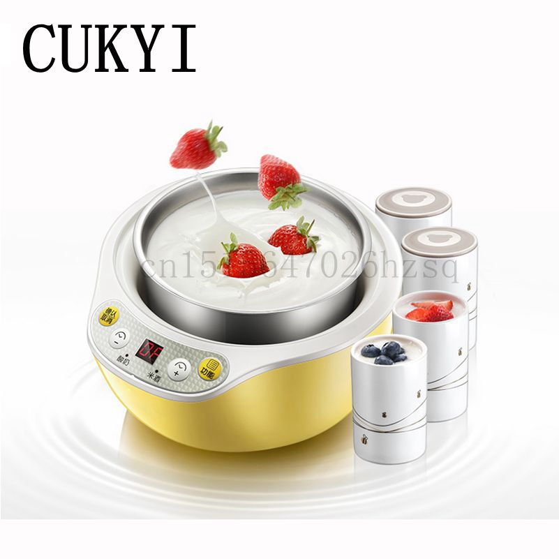 CUKYI 1L Electric Intelligent multifunction Yogurt Maker Stainless steel+ceramic liner Automatic Rice wine machine hot selling electric yogurt machine stainless steel liner mini automatic yogurt maker 1l capacity 220v