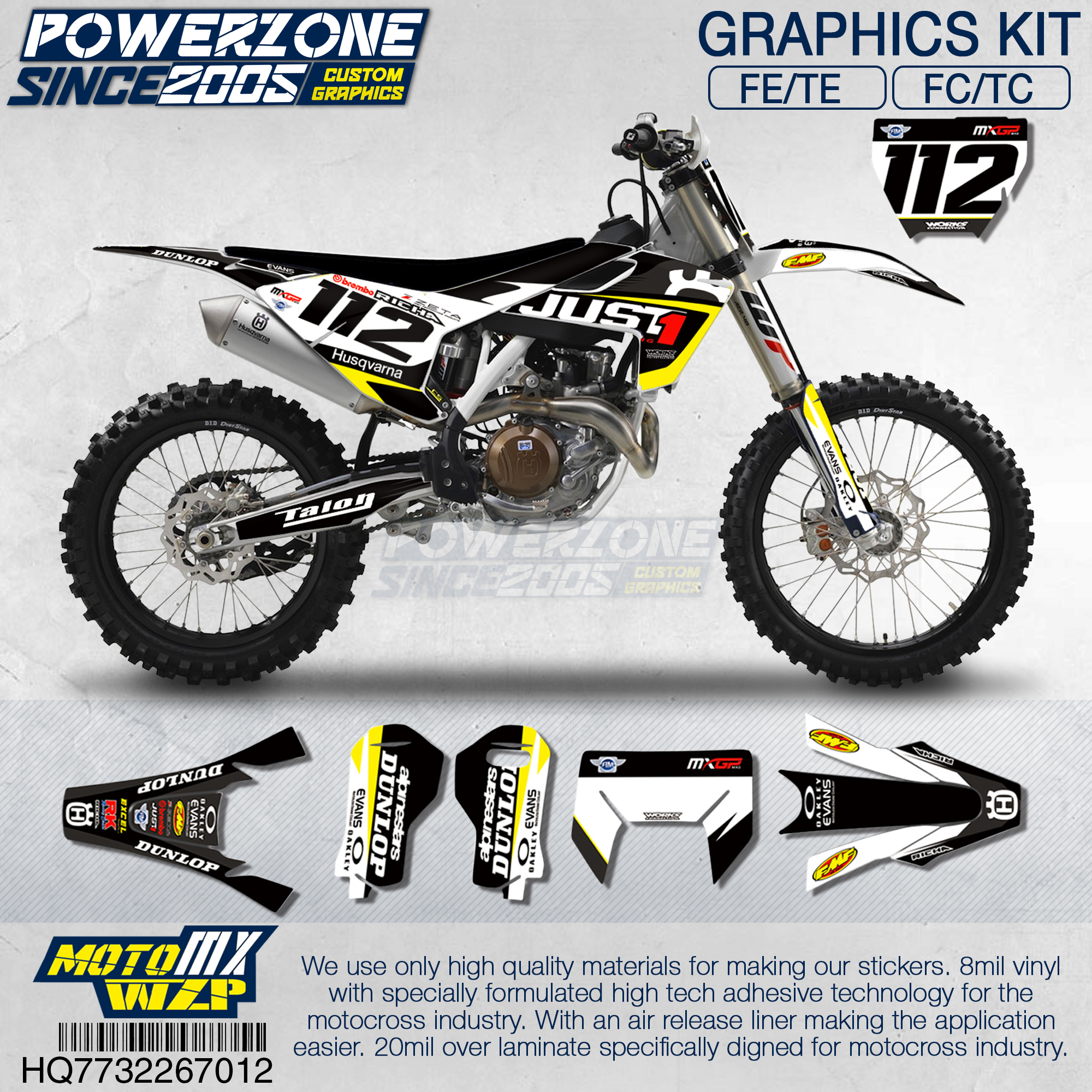 PowerZone Customized Team Graphics Backgrounds Decals 3M Custom Stickers For Husqvarna 2017 To 2019 FE TE FC TC 250 To 500cc 712