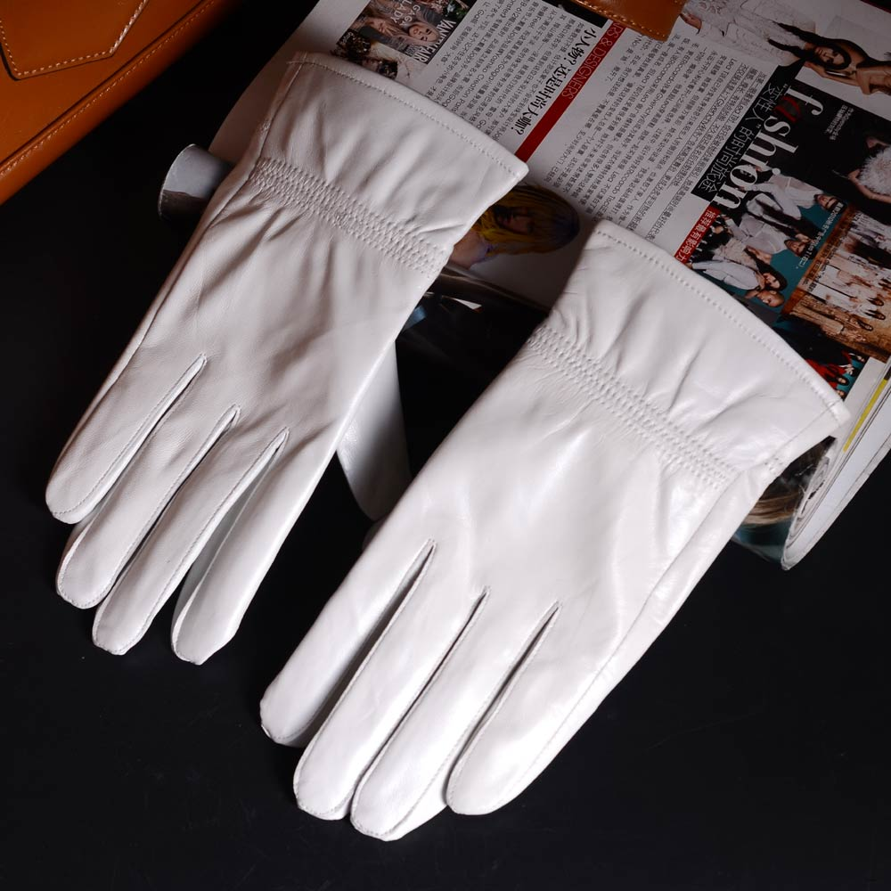 Men's GENUINE  Leather Real Leather Winter Warm White Short Gloves