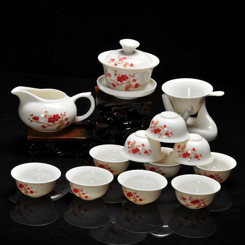 14 sztuk zestaw do herbaty kung fu  chiński wzór zawierać białe szkliwione porcelana ceramiczna smok 10 sztuk kubki na herbatę i czajniczek w Zest. naczyń do herbaty od Dom i ogród na title=