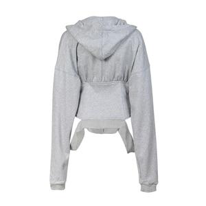 Image 4 - TWOTWINSTYLE Spring Sweatshirts For Womens Hoodies Long Sleeve V Neck High Waist Slim Sweatshirt Tops Female Fashion New 2020