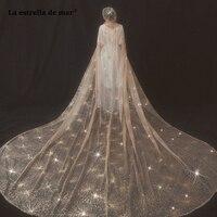 La estrella de mar new champagne gold sequined lace Cathedral Veil hat voile mariage long retro photo bride veil hot sale