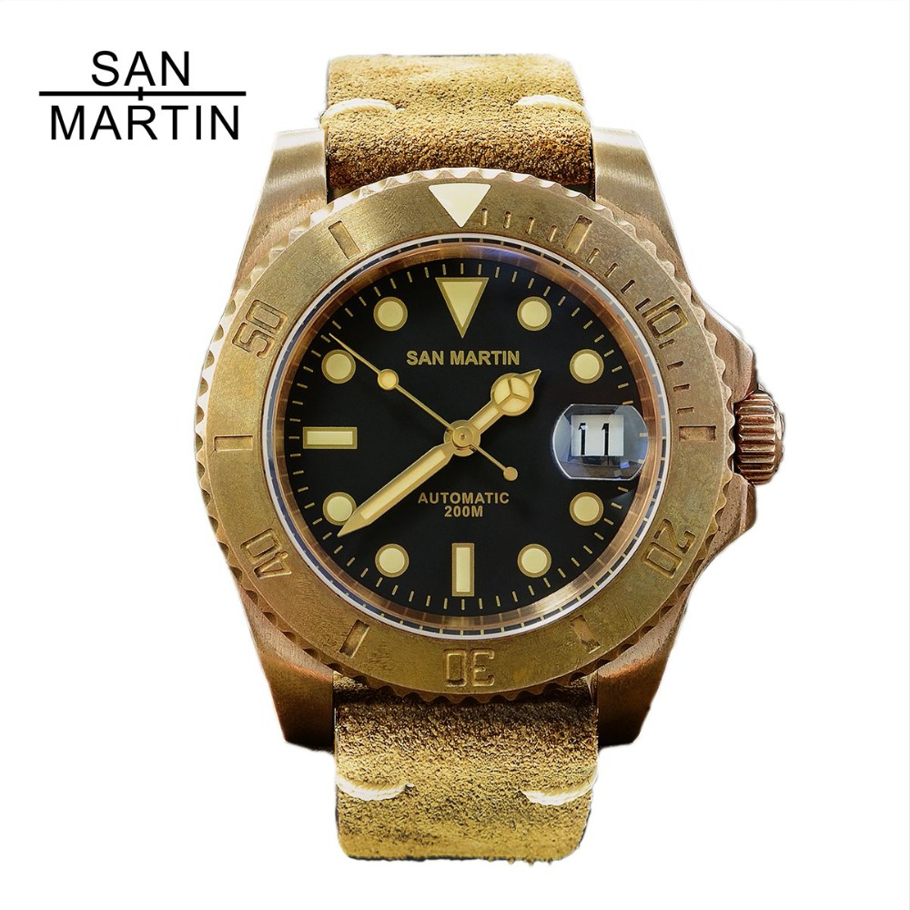 San Martin Men Vintage Bronze Watch Automatic diving Watch 200 Water Resistant Bronze Bezel Retro Wristwatch