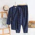 Cotton Men Yukata Kimono Pajamas Japanese Style Set Top Pants Tracksuit Bathrobe Plane Patterned