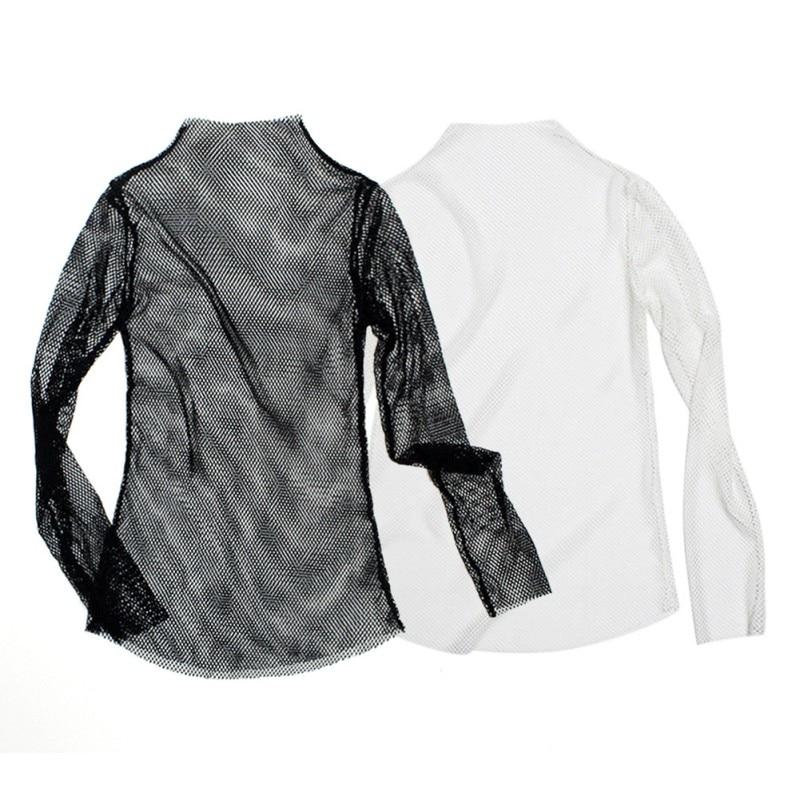 Wanita Fishnet Leher Tinggi Tops Lengan Panjang Lihat-t-shirt Tops - Pakaian wanita - Foto 2