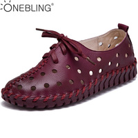 6 Colors Genuine Leather Hollow Out Breathable Flat Shoes 2017 Spring Autumn Fashion Lace Up Sewing