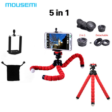 MOUSEMI 5in1 Lens 3in1 lens lentes include Fisheye 0.67x wide Macro lentes & Octopus Tripod for iPhone Samsung HTC Lenovo Lens