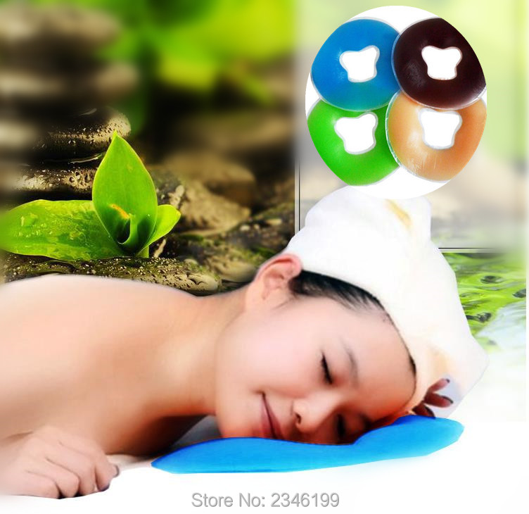 660g/PC 29*29cm Blue/Coffee/Green/ Flesh Color Silicon Spa Pillow With Face Hole Body Massage Beauty Bed  For Beauty Salon