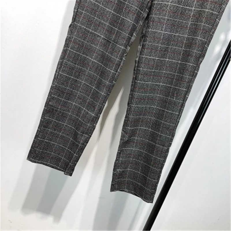 Traje de talla grande trajes de pantalón de personalización trajes de negocios de oficina para mujer conjuntos de ropa de trabajo Formal estilos uniformes elegantes pantalones a cuadros