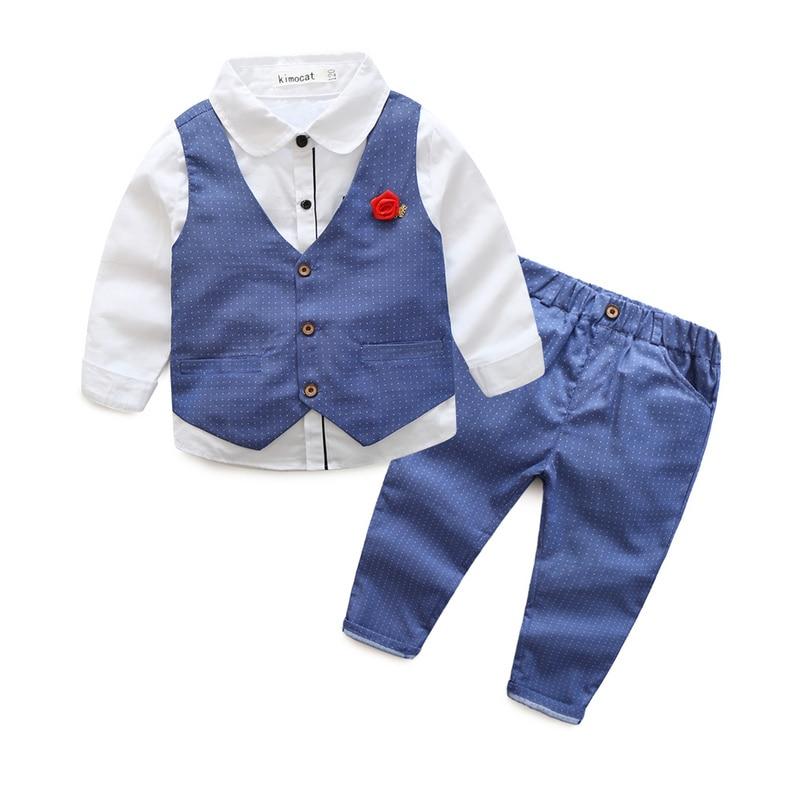 2015 Fashion Baby Boy Clothes Sets Gentleman Suit Toddler Boys Clothing Set Long Sleeve Kids Boy