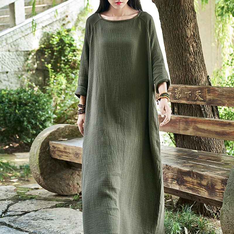 Women Vintage Double Cotton Linen Robe Long Sleeve Square Collar Fall New One Size Brief Women Gown