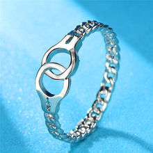 Boho Style Stacking Handcuff Ring 925 Silver Rose Gold Filled Cute Link Chain Cross Thin Rings For Women Men Minimalist Jewelry(China)