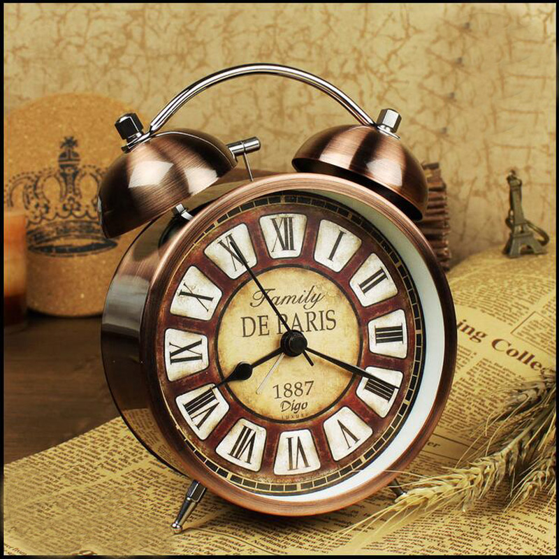 New Twin Bell Alarm Clock Metal Finish Desktop Bedside Watch with Night Light Function Roman Numbers for Bedroom Kids