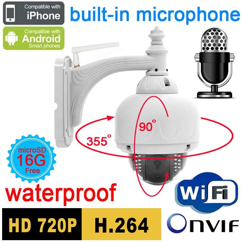 Видеонаблюдения ip камера 720 P аудио Micro Wireless Открытый Купольная Wi Fi Водонепроницаемый Onvif NVR домашние системы безопасности Cam Пан белый