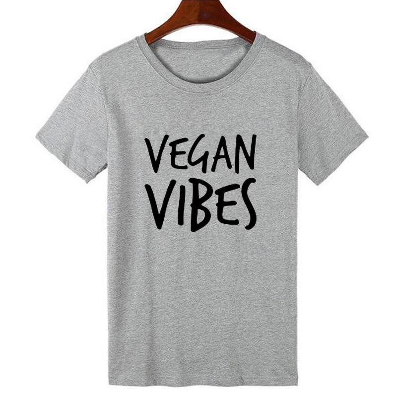 Pkorli VEGAN VIBES Letters Print T Shirt Women Cotton Casual Lady Tumblr T-Shirts For Girl Tops Tshirts Graphic Tees Dropship 9