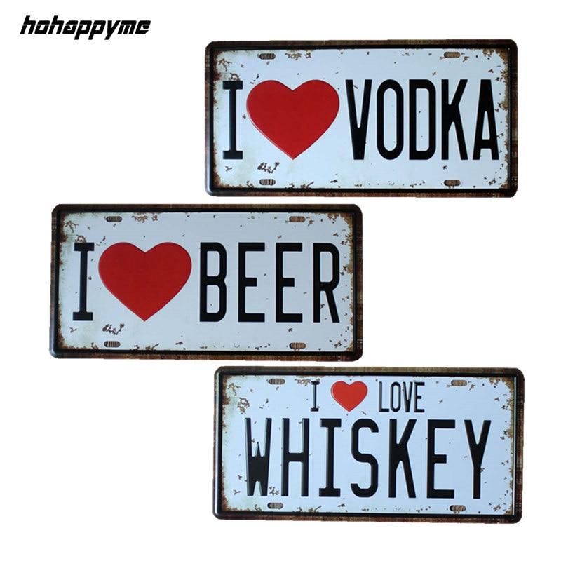 15*30 cm I Love Vodka/Beer/Whiskey Pub Signs Wall Decorative Plates Vintage Plaque