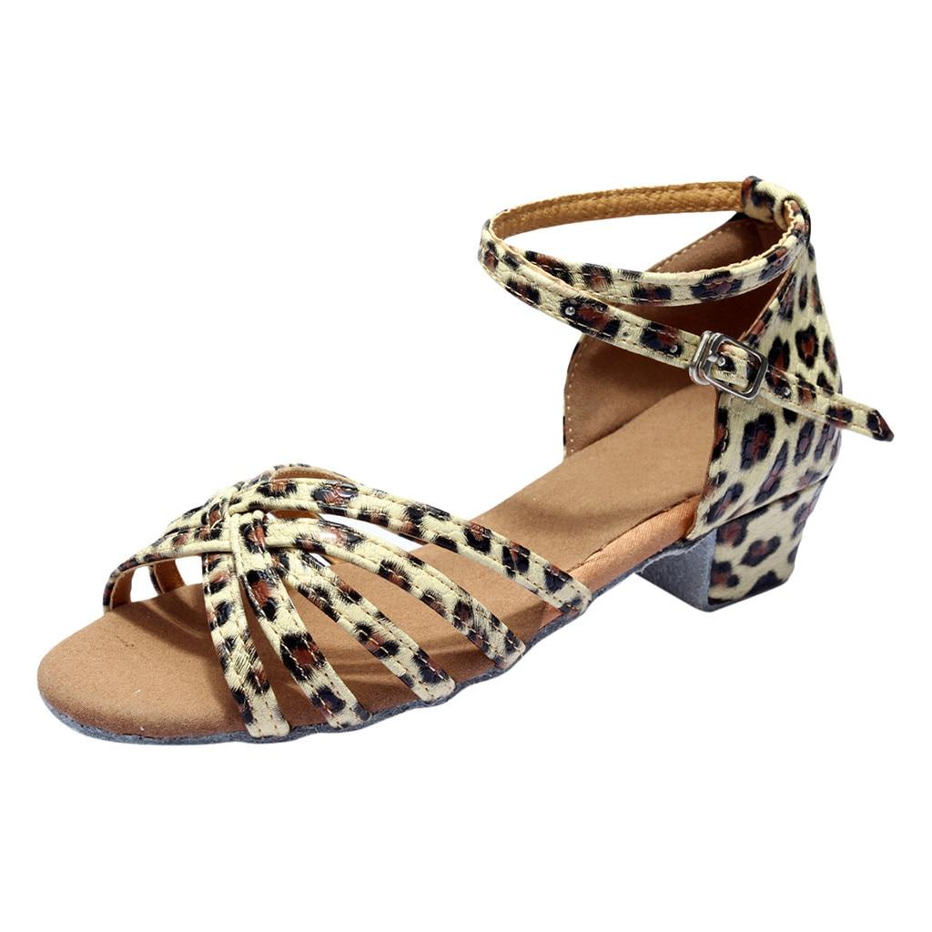 Girls Sandals Leopard Print Sandals For Children Princess Dancing Ballroom Shoes Tango Latin Kids Open-Toes Sandals