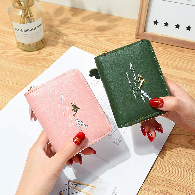 Woman 39 s Wallets small Tassel Pendant fashion dolphin fish Zipper Coin Pocket Card Holder Brand Ladies Purses Female Wallet 519 in Wallets from Luggage amp Bags