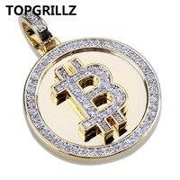 TOPGRILLZ хип-хоп Золото Цвет покрытый льдом микро проложить циркония круглый Биткоин кулон ожерелье для мужчин Три цепи
