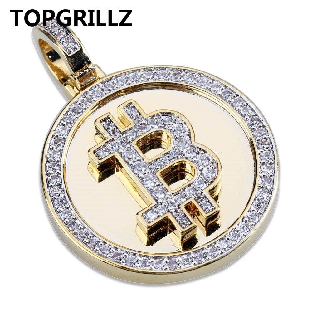 TOPGRILLZ Hip Hop couleur or plaqué glacé Micro Pave zircone ronde Bitcoin pendentif collier pour hommes trois chaînes