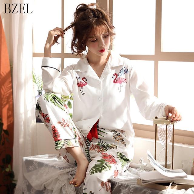 BZEL Long Sleeve Cotton Pajamas Set Cartoon Flamingo Sleepwear Women Nightwear Pijama Mujer Pyjama Femme 2pcs/set Big Yard M 3XL