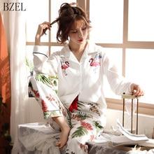 BZEL 긴 소매 면화 잠옷 세트 만화 플라밍고 잠옷 여성 잠옷 Pijama Mujer Pyjama Femme 2 개/대 큰 야드 M 3XL