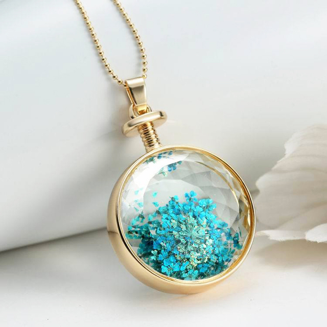 Wish Box Blue Dried Flower Pendant Chains Crystal Round Floating