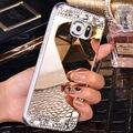 Для Samsung Galaxy J3 J5 J7 2016 S7 Край S6 A3 A5 A7 Гранд Премьер Зеркало Крышки Случая Мягкие TPU Bling Горный Хрусталь Алмаз Телефон случаях