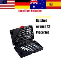 12Pcs Flexible Ratchet Wrench Set Ratcheting Socket Spanner Nut Tool Ratchet Handle Wrenches Repair Tools Torque